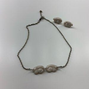 Kawaii Studios Angel wing clay necklace earrings